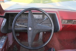 steering wheel view of 1969 Cadillac Convertible DeVille