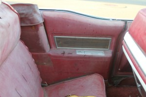 left backseat interior view of 1969 Cadillac Convertible DeVille